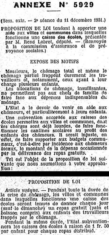 Proposition de loi dec 1931 lebret